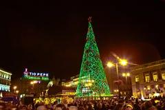 Φωτισμένη διακόσμηση Χριστουγέννων στη Μαδρίτη, Ισπανία Στοκ εικόνα με δικαίωμα ελεύθερης χρήσης