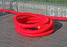 μαζική πλαστική κόκκινη οδός καλωδίων Στοκ Εικόνες