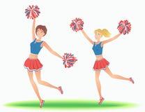 Μαζορέτες με τα pom-poms Τα κορίτσια υποστηρίζουν το χορό ομάδων απεικόνιση αποθεμάτων