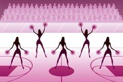 Μαζορέτες που χορεύουν στον τομέα καλαθοσφαίρισης διανυσματική απεικόνιση
