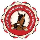 Μαθήματα οδήγησης αλόγων και πόνι - εκτυπώσιμα γραμματόσημο/λογότυπο Στοκ Φωτογραφίες