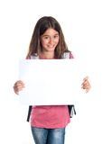Μαθήτρια που κρατά το κενό έγγραφο Στοκ φωτογραφία με δικαίωμα ελεύθερης χρήσης