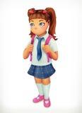 Μαθήτρια Χαρακτήρας κινουμένων σχεδίων μικρών κοριτσιών Στοκ Φωτογραφία