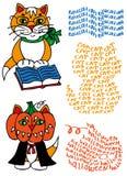 Μαθημένες γάτα και κολοκύθα Στοκ Εικόνα