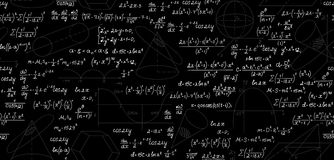 Μαθηματικό διανυσματικό άνευ ραφής σχέδιο με τις γεωμετρικούς πλοκές, τους αριθμούς, τις εξισώσεις, τους τύπους και τους υπολογισ Στοκ Εικόνες