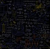 Μαθηματικό διανυσματικό άνευ ραφής σχέδιο με τους αριθμούς, τους τύπους, τις πλοκές, τους στόχους γεωμετρίας και άλλους υπολογισμ Στοκ Φωτογραφία