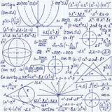Μαθηματικό διανυσματικό άνευ ραφής σχέδιο με τους γεωμετρικούς αριθμούς, trigonometry τις πλοκές και τις εξισώσεις Στοκ Φωτογραφίες