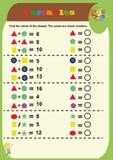 Μαθηματικό παιχνίδι γρίφων Μαθηματικά εκμάθησης, στόχοι για την προσθήκη για τα προσχολικά παιδιά φύλλο εργασίας για τα προσχολικ στοκ φωτογραφία με δικαίωμα ελεύθερης χρήσης