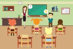 Μαθητές και δάσκαλος σχολικού μαθήματος στο εσωτερικό δωματίων κατηγορίας διανυσματική απεικόνιση