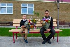 μαθητές μαθητές Σεπτέμβριος λουλουδιών 1 τελετής Στοκ εικόνα με δικαίωμα ελεύθερης χρήσης