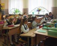 Μαθητές που κάθονται σε μια τάξη, Ρωσία Στοκ φωτογραφία με δικαίωμα ελεύθερης χρήσης