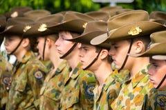 Μαθητές στρατιωτικής σχολής ημέρας Anzac Στοκ Φωτογραφίες