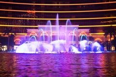 Μακάο, Κίνα - 2014 10 15: Μακάο - η πρωτεύουσα παιχνιδιού της Ασίας Η φωτογραφία της χορεύοντας πηγής παρουσιάζει στο διάσημο ξεν Στοκ Εικόνα