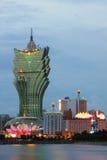 Μακάο: Χαρτοπαικτική λέσχη Λισσαβώνα & μεγάλο ξενοδοχείο της Λισσαβώνας Στοκ Εικόνα