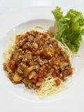 Μακαρόνια με την κομματιασμένη σάλτσα χοιρινού κρέατος στοκ εικόνες
