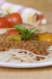 Μακαρόνια με τη σάλτσα κρέατος Στοκ Φωτογραφίες
