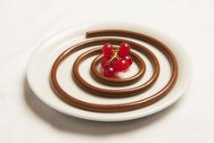 Μακαρόνια σοκολάτας με τα κόκκινα μούρα Στοκ φωτογραφία με δικαίωμα ελεύθερης χρήσης