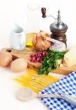 μακαρόνια συνταγής carbonara Στοκ Εικόνες