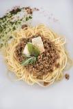Μακαρόνια bolognese με την άποψη παρμεζάνας 3top Στοκ εικόνα με δικαίωμα ελεύθερης χρήσης