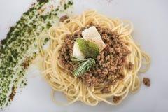 Μακαρόνια bolognese με την παρμεζάνα cheese4 Στοκ Φωτογραφίες