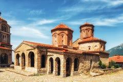 Μακεδονία, λίμνη Οχρίδα, ορθόδοξο μοναστήρι του ST Naum 10ο Centu Στοκ Εικόνες