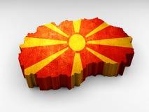 Μακεδονικός τρισδιάστατος κατασκευασμένος χάρτης με μια μακεδονική σημαία ελεύθερη απεικόνιση δικαιώματος