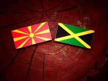 Μακεδονική σημαία με την τζαμαϊκανή σημαία σε ένα κολόβωμα δέντρων Στοκ φωτογραφία με δικαίωμα ελεύθερης χρήσης