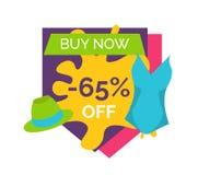 65 μακριά αγοράστε αυτή τη στιγμή το φωτεινό προωθητικό έμβλημα Απεικόνιση αποθεμάτων