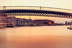 Μακριά γέφυρα έκθεσης στη Βενετία Στοκ φωτογραφίες με δικαίωμα ελεύθερης χρήσης