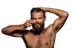 Μακριά γενειάδα και mustache hipster Στοκ Εικόνα