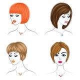 Μακριά δημιουργική καφετιά τρίχα πλεξουδών, που απομονώνεται στο άσπρο υπόβαθρο Hairstyles μιας γυναίκας Σύνολο διανυσματικών απε απεικόνιση αποθεμάτων