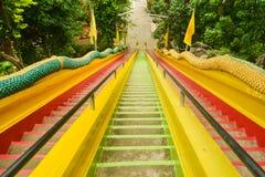 Μακριά ζωηρόχρωμα σκαλοπάτια στο ναό Στοκ φωτογραφίες με δικαίωμα ελεύθερης χρήσης