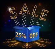 25% μακριά, καυτή πώληση έκπτωσης 25 πώλησης με το ειδικό ελατήριο προσφοράς και κιβώτιο Στοκ Εικόνες
