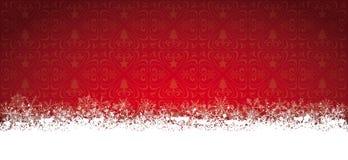 Μακριά κόκκινα Snowflakes καρτών Χριστουγέννων Στοκ Φωτογραφία