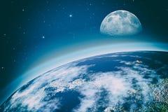 Μακριά Κόσμος Αφηρημένα υπόβαθρα επιστήμης U καλολογικών στοιχείων της NASA διανυσματική απεικόνιση