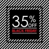 35% μακριά Μαύρο έμβλημα πώλησης και έκπτωσης Παρασκευής Πρότυπο σχεδίου ετικεττών πωλήσεων επίσης corel σύρετε το διάνυσμα απεικ ελεύθερη απεικόνιση δικαιώματος