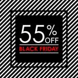 55% μακριά Μαύρο έμβλημα πώλησης και έκπτωσης Παρασκευής Πρότυπο σχεδίου ετικεττών πωλήσεων επίσης corel σύρετε το διάνυσμα απεικ ελεύθερη απεικόνιση δικαιώματος
