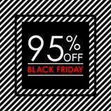 95% μακριά Μαύρο έμβλημα πώλησης και έκπτωσης Παρασκευής Πρότυπο σχεδίου ετικεττών πωλήσεων επίσης corel σύρετε το διάνυσμα απεικ ελεύθερη απεικόνιση δικαιώματος