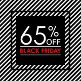 65% μακριά Μαύρο έμβλημα πώλησης και έκπτωσης Παρασκευής Πρότυπο σχεδίου ετικεττών πωλήσεων επίσης corel σύρετε το διάνυσμα απεικ διανυσματική απεικόνιση