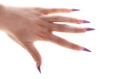 Μακριά νύχια γυναικών Χρωματισμένη μπλε στιλβωτική ουσία καρφιών στοκ φωτογραφίες με δικαίωμα ελεύθερης χρήσης
