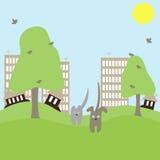 μακριά το σκυλί γατών τρέχει την πόλη Στοκ φωτογραφία με δικαίωμα ελεύθερης χρήσης