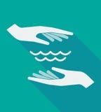 Μακριά χέρια σκιών με ένα σημάδι νερού Στοκ φωτογραφία με δικαίωμα ελεύθερης χρήσης