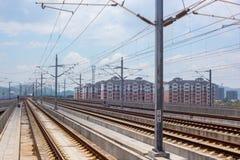 Μακριές σιδηροδρομικές γραμμές στην Κίνα Στοκ εικόνες με δικαίωμα ελεύθερης χρήσης