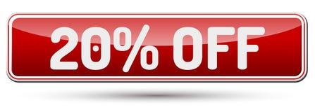 20% ΜΑΚΡΙΑ - αφηρημένο όμορφο κουμπί με το κείμενο Στοκ εικόνες με δικαίωμα ελεύθερης χρήσης