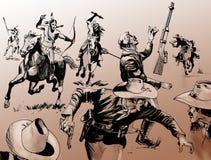 μακρινή δύση μάχης διανυσματική απεικόνιση