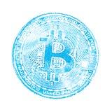 Μακροεντολή Ανοικτό μπλε σφραγίδα του bitcoin απομονωμένο στο λευκό υπόβαθρο Τυπωμένη ύλη στο cryptocurrency εγγράφων για τους σχ Στοκ εικόνες με δικαίωμα ελεύθερης χρήσης