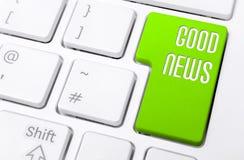 Μακροεντολή ενός πληκτρολογίου με τις πράσινες καλές ειδήσεις κουμπιών Στοκ φωτογραφίες με δικαίωμα ελεύθερης χρήσης