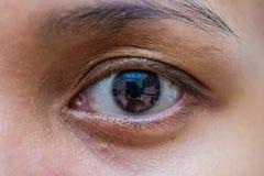 Μακροεντολή ματιών γυναικών της Ασίας, το όραμα της μελλοντικής και υγιούς έννοιας ζωής άποψη ακριβής και ευθεία στην έννοια στόχ στοκ εικόνες