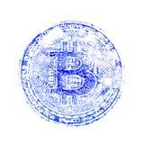 Μακροεντολή Μια μπλε τυπωμένη ύλη του bitcoin Εκτύπωση στα έγγραφα για το crypto νόμισμα για τους σχεδιαστές Τετραγωνικό πλαίσιο Στοκ φωτογραφία με δικαίωμα ελεύθερης χρήσης