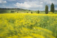 Μακροχρόνια έκθεση πέρα από Pienza, Τοσκάνη στοκ εικόνα